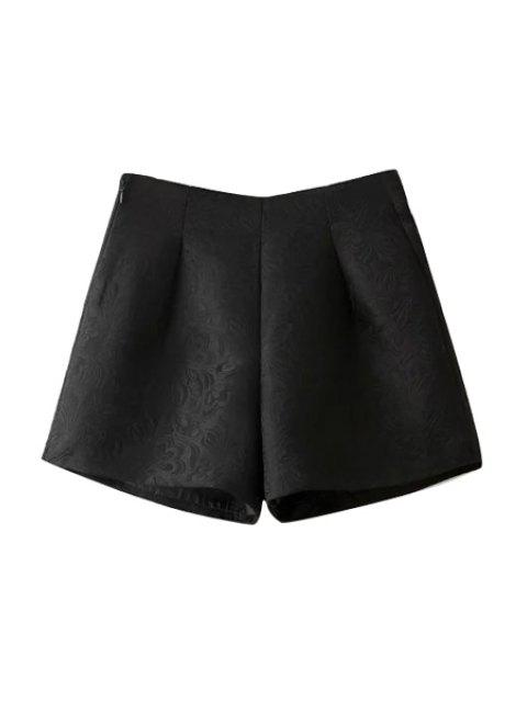 women's Wide Leg Solid Color Shorts - BLACK L Mobile