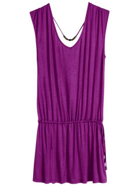 women Solid Color V-Neck Elastic Waisted Dress - VIOLET ONE SIZE(FIT SIZE XS TO M) Mobile