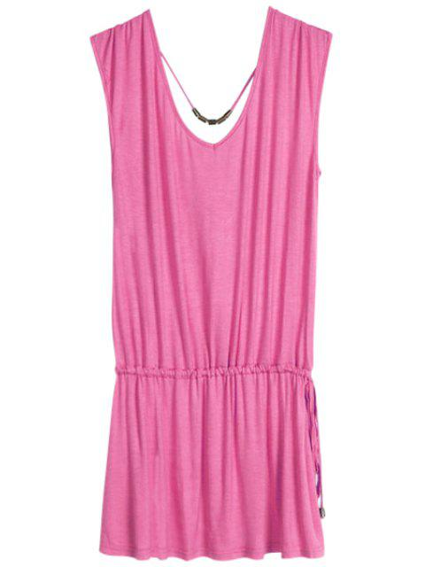 best Solid Color V-Neck Elastic Waisted Dress - PEACH RED ONE SIZE(FIT SIZE XS TO M) Mobile