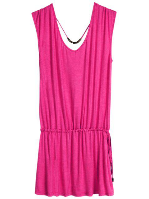 lady Solid Color V-Neck Elastic Waisted Dress - PLUM ONE SIZE(FIT SIZE XS TO M) Mobile