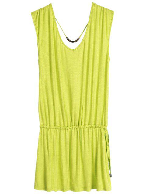 online Solid Color V-Neck Elastic Waisted Dress - GRASS GREEN ONE SIZE(FIT SIZE XS TO M) Mobile