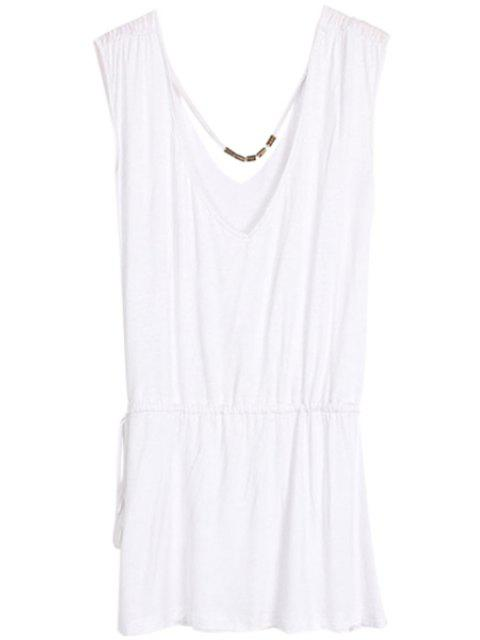 outfit Solid Color V-Neck Elastic Waisted Dress - WHITE ONE SIZE(FIT SIZE XS TO M) Mobile