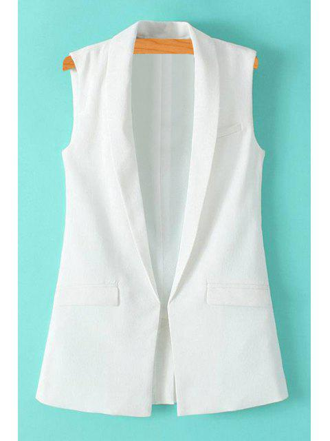 online Solid Color Turn-Down Collar Waistcoat - WHITE L Mobile