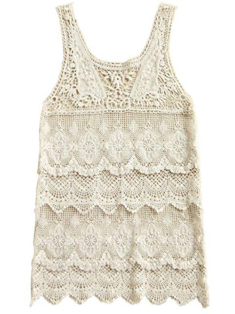 hot Scoop Neck Openwork Sleeveless Tank Top - OFF-WHITE ONE SIZE(FIT SIZE XS TO M) Mobile
