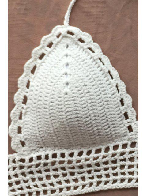 women's Solid Color Halterneck Crochet Crop Top - WHITE ONE SIZE(FIT SIZE XS TO M) Mobile
