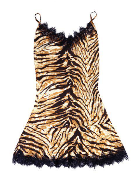 fancy Leopard Pattern Lace Splicing Sleeveless Dress - EARTHY M Mobile