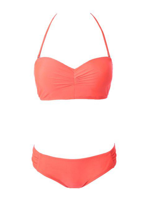 Solide Couleur bretelles à lacets Bikini - Orange S Mobile