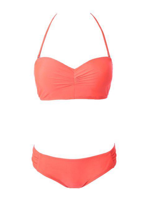 Solide Couleur bretelles à lacets Bikini - Orange L Mobile