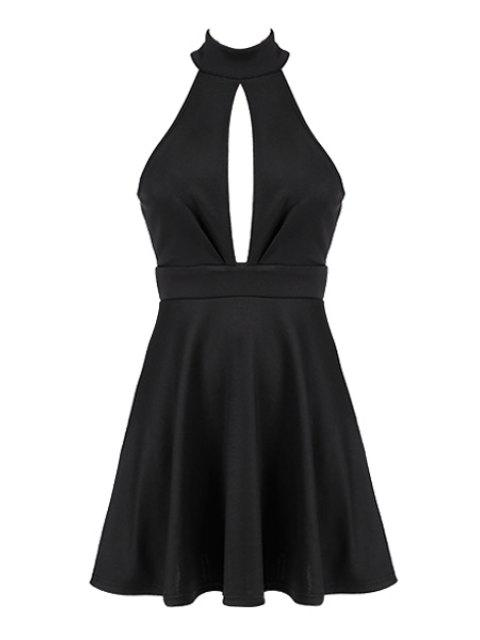 new Stand-Up Collar Openwork Backless Dress - BLACK L Mobile