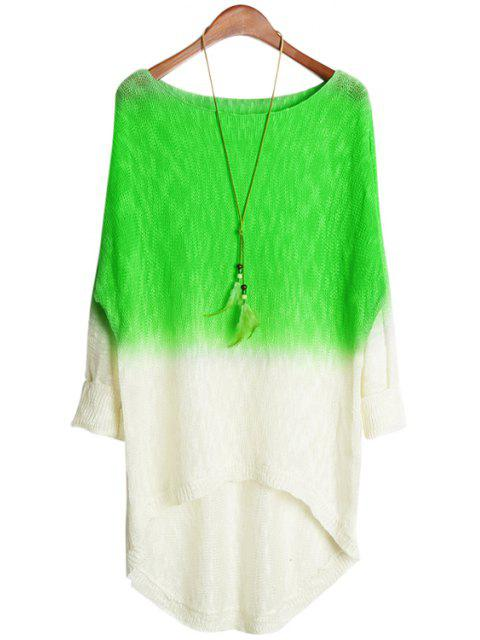 new Green Spliced Long Sleeve Knitwear - NEON GREEN ONE SIZE(FIT SIZE XS TO M) Mobile