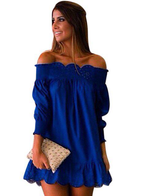 women's Slash Neck Solid Color Openwork Ruffle Dress - DEEP BLUE XL Mobile