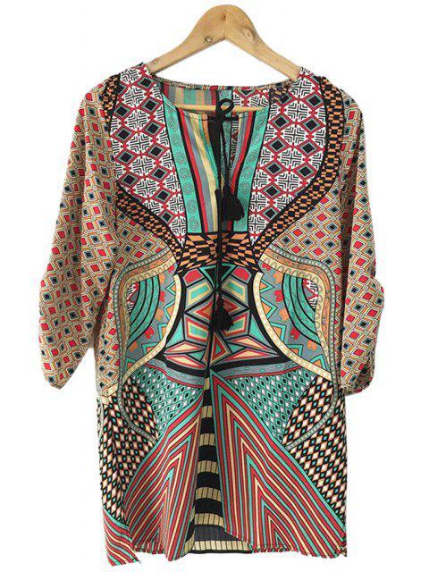 shop Geometric Print Color Block Half Sleeve Dress - COLORMIX L Mobile