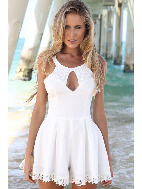 women's Lace Spliced Sleeveless A-Line Dress - WHITE M Mobile