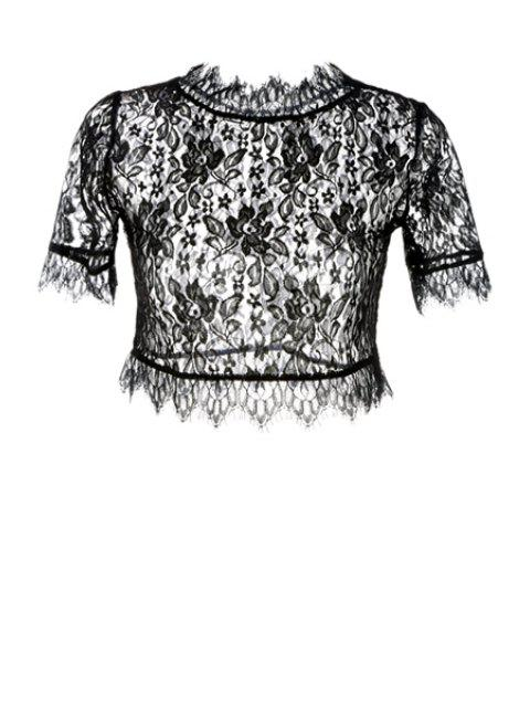 sale Floral Pattern See-Through Lace T-Shirt - BLACK S Mobile