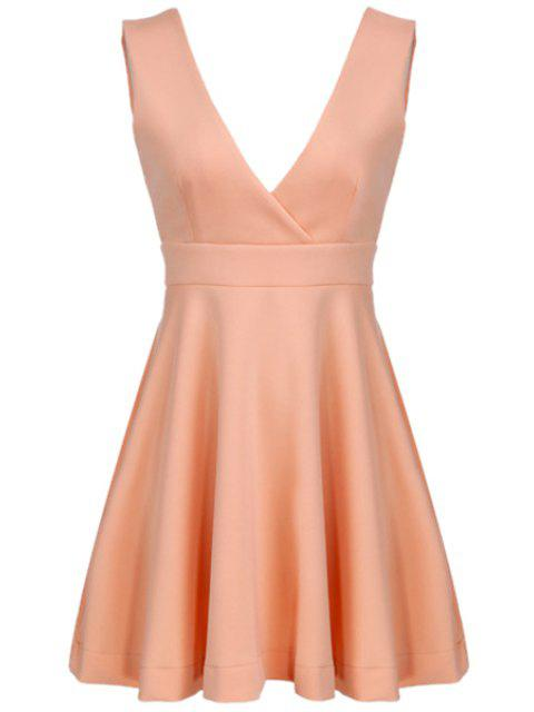 outfit Pink Plunging Neck Sleeveless Dress - PINK S Mobile