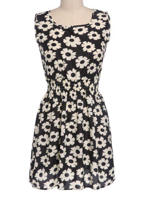 new Floral Print Elastic Waist Sleeveless Dress - BLACK L Mobile