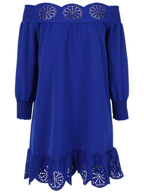 womens Slash Neck Solid Color Openwork Ruffle Dress - DEEP BLUE M Mobile