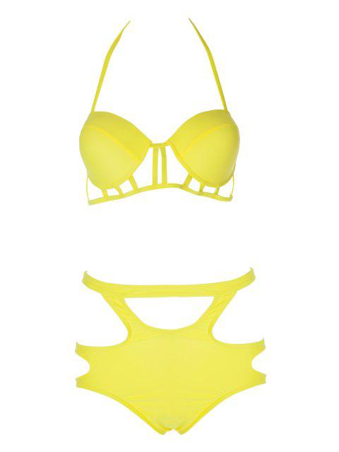 latest Caged High Rise Cut Out Bikini Set - YELLOW M Mobile