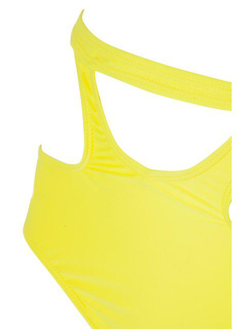 latest Caged High Rise Cut Out Bikini Set - YELLOW M Mobile