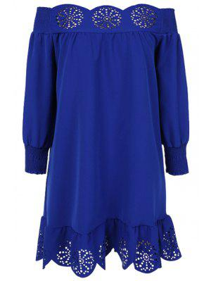 Slash Neck Solid Color Openwork Ruffle Dress
