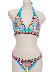 Azul Ethnic Print Halter Bikini Set - Azul M
