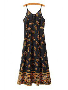Buy Print Lace Splicing Sleeveless Dress - BLACK M