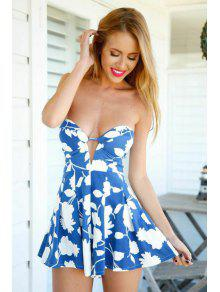 d941f4d033c 25% OFF  2019 Strapless White Floral Print Romper In BLUE AND WHITE ...