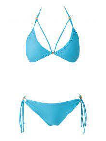 Blue Halter Lace-Up Bikini Set - Lake Blue L