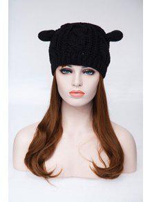 محبوك القنب الزهور آذان القط الاكريليك قبعة - أسود