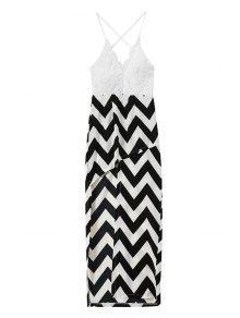 Spaghetti Straps Lace Stripes Spliced Dress - White And Black S