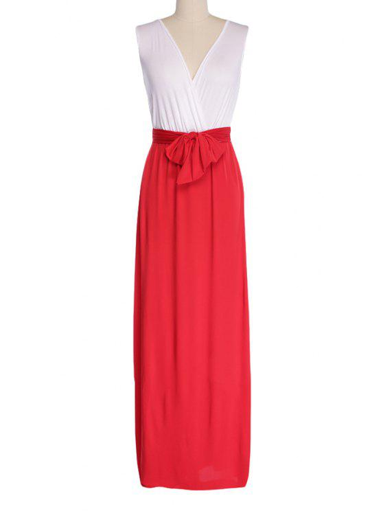chic Plunging Neck Color Block Tie-Up Slit Dress - RED M