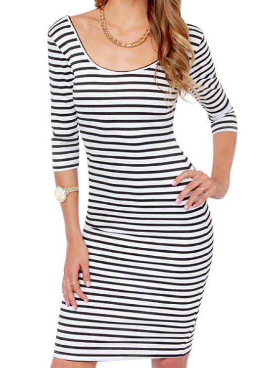 affordable Scoop Neck Stripe Half Sleeve Dress - STRIPE S