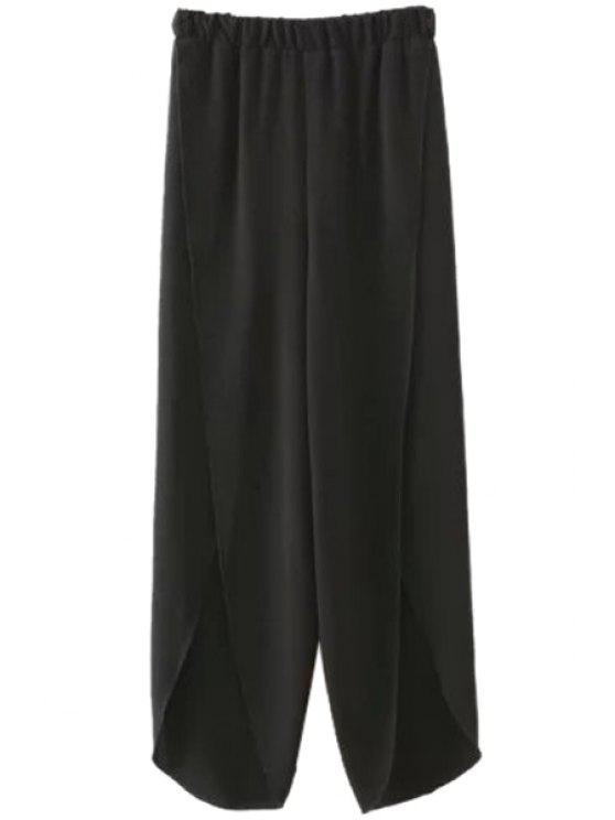 fashion Solid Color Slit Elastic Waist Pants - BLACK S