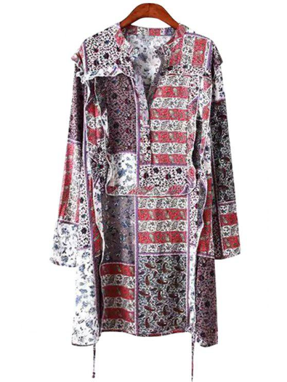 outfits Print Flounce Splicing Long Sleeve Dress - COLORMIX M