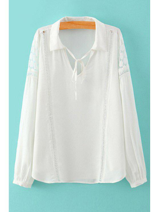 outfit Tie-Up Lace Splicing Openwork Shirt - WHITE S