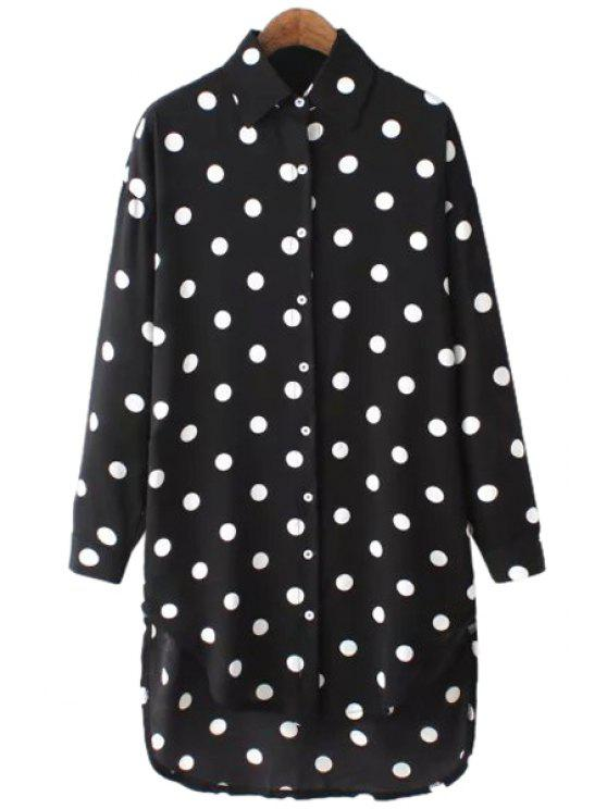 sale Polka Dot Chiffon Long Sleeve Shirt - BLACK ONE SIZE(FIT SIZE XS TO M)
