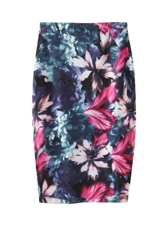 hot Floral Print Side Slit Skirt - PURPLISH BLUE S