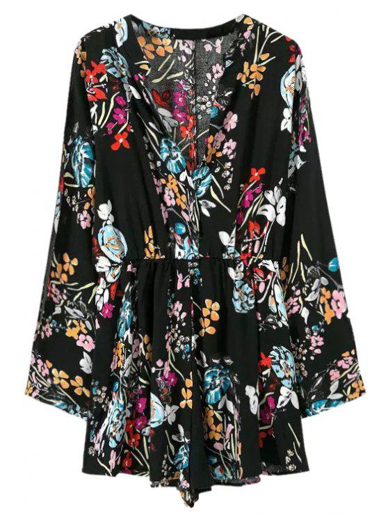 women Floral Long Sleeves V-Neck Romper - BLACK S