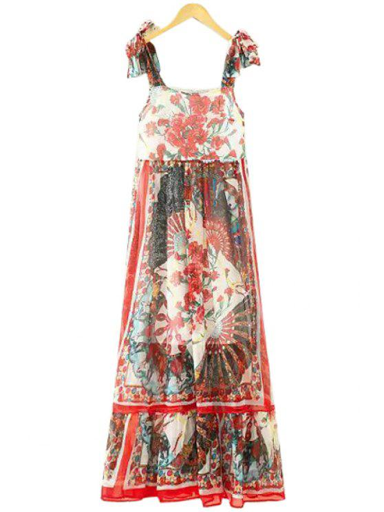 latest Floral Lace-Up Straps Maxi Dress - RED S