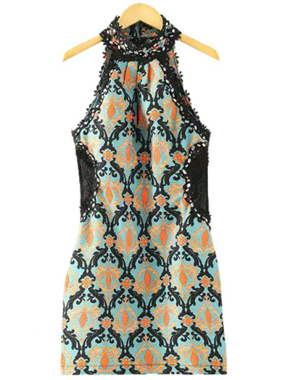fashion Print Crochet Spliced Sleeveless Dress - COLORMIX M