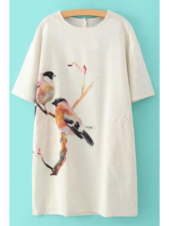 chic Birds Print Half Sleeve Dress - WHITE S