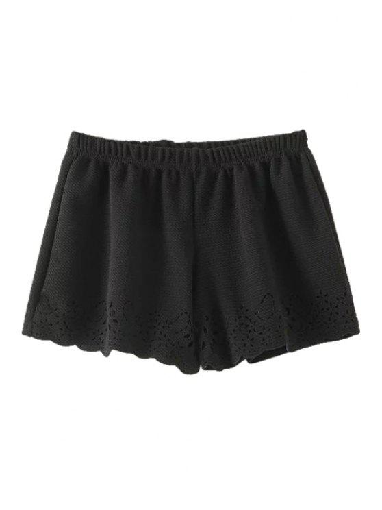 hot Solid Color Hollow Wide Leg Shorts - BLACK ONE SIZE(FIT SIZE XS TO M)