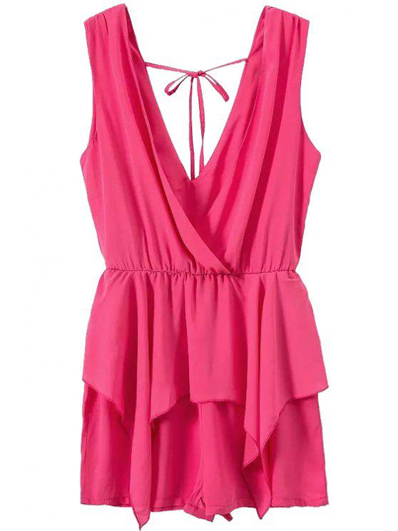 best Solid Color Plunging Neck Sleeveless Romper - PLUM S