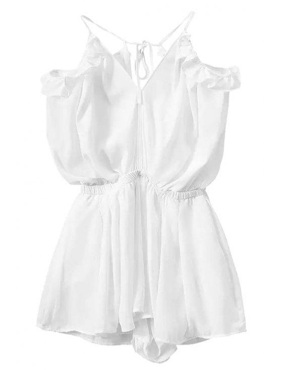 hot Solid Color Backless Flounce Splicing Romper - WHITE L