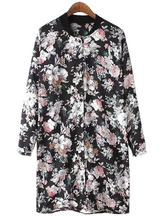 women Floral Stand Neck Long Sleeve Shirt - BLACK ONE SIZE(FIT SIZE XS TO M)