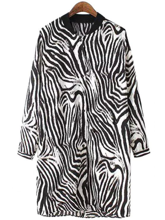 ladies Zebra Striped Print Stand Neck Shirt - WHITE AND BLACK ONE SIZE(FIT SIZE XS TO M)