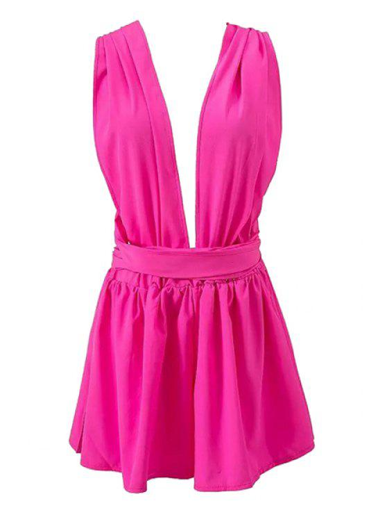 affordable Plunging Neck Tie-Up Backless Cross Romper - ROSE L