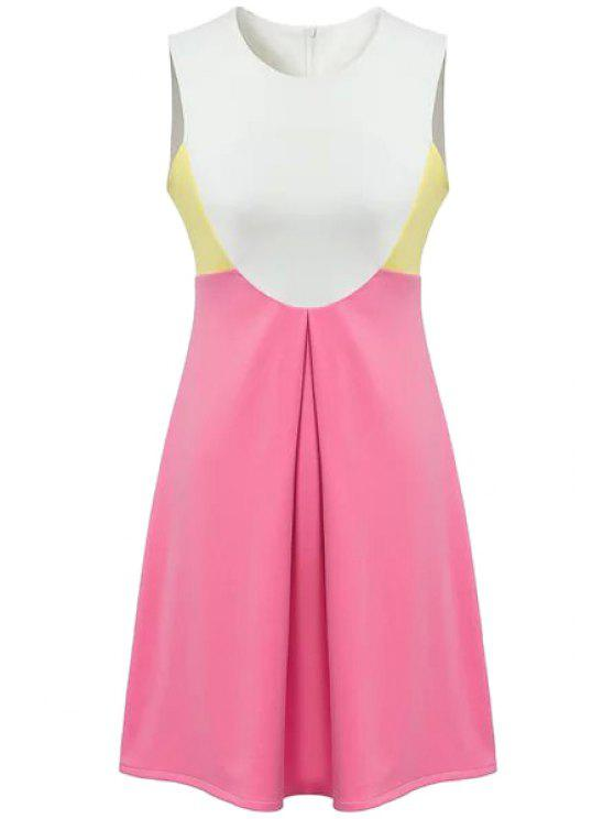 affordable Sleeveless Color Block A-Line Dress - PINK M