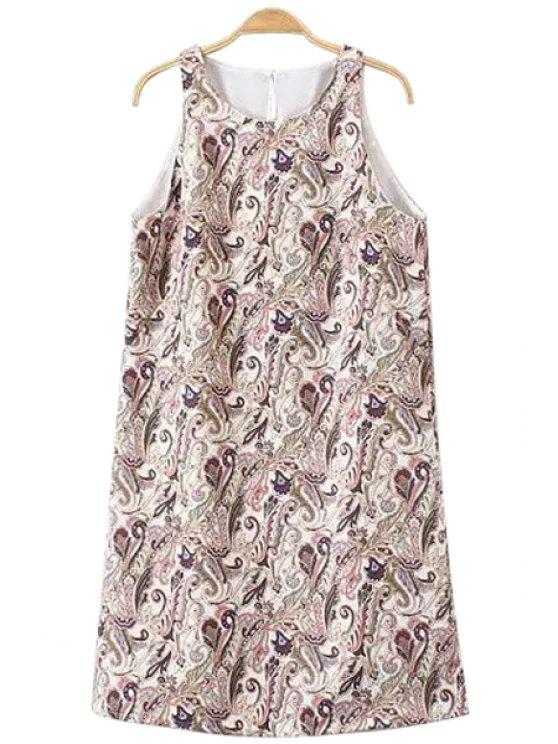women's Paisley Print Jewel Neck Sundress - COLORMIX S