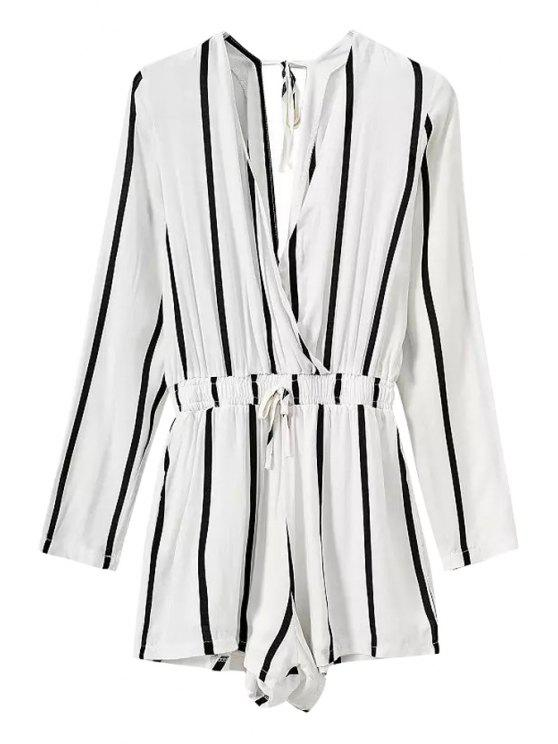 womens Stripe Elastic Waist Long Sleeve Romper - WHITE S